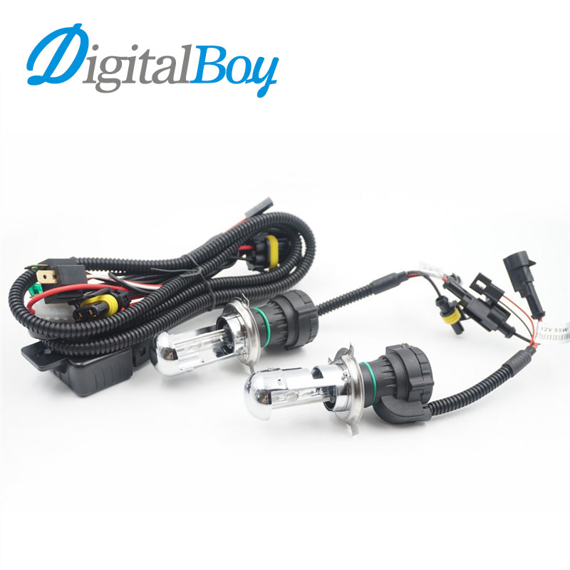 Digitalboy 35W H4 Xenon Bulbs Hi/Lo Beam H4-3 9003 Car Headlight kit Bi-Xenon HID Lamp with Harness 4300k 5000k 6000k Car Light 2x 35w car hid bulb h4 bi xenon light h4 hi lo beam hid bulbs bi xenon h4 3 for auto headlight 12v ac 4300k 6000k 8000k 10000k