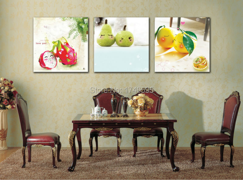 Big 3pcs Modern Home Wall Decoration Restaurant Dining Room Art Decor Cute Fruits Picture Canvas Print Painting In Calligraphy From