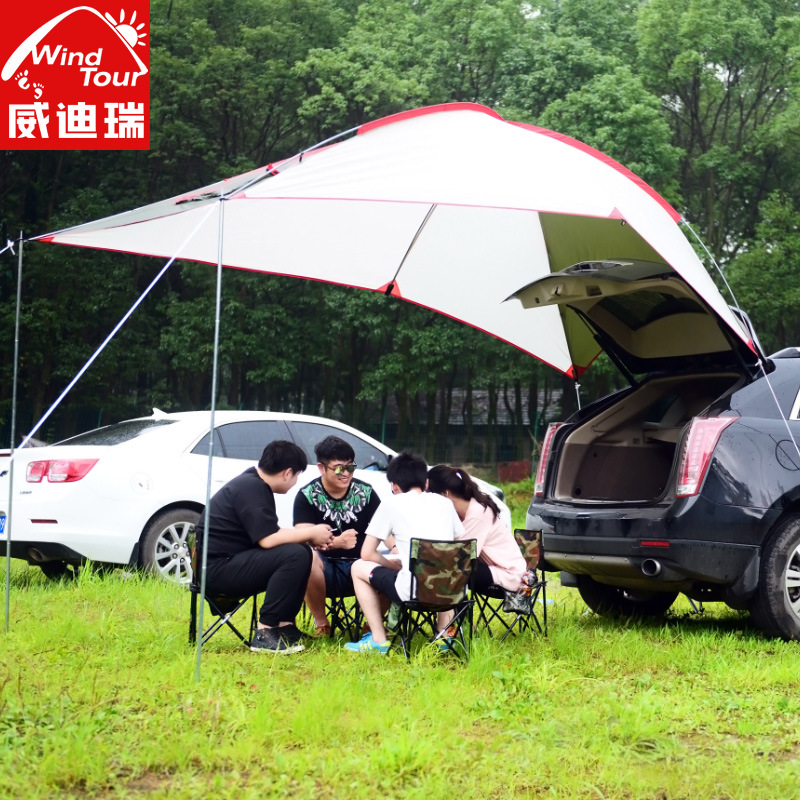Extérieur portable camping car tial tente auto conduite tour barbecue multi personnes imperméable à la pluie ombre gazebo plage auvent tente auvent - 2