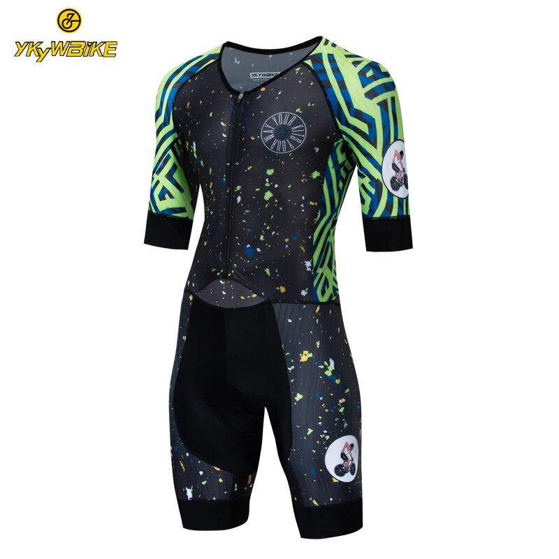 YKYWBIKE hommes Triathlon 2019 cyclisme Skinsuit à manches courtes personnalisé cyclisme Jersey Set Pad haute qualité vtt vélo Jersey vêtements Kit