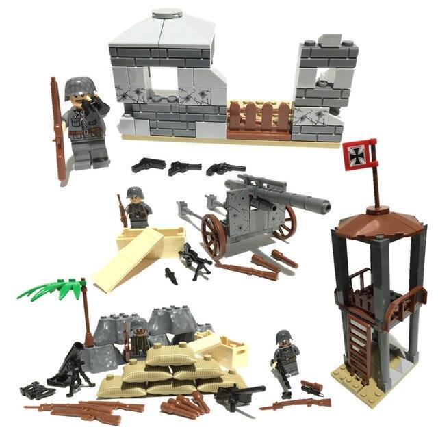 4 in 1 World War 2 German Army Military SWAT Soldiers Gun Weapon navy seals Building Blocks Figure Bricks Boys Toy Gift Children