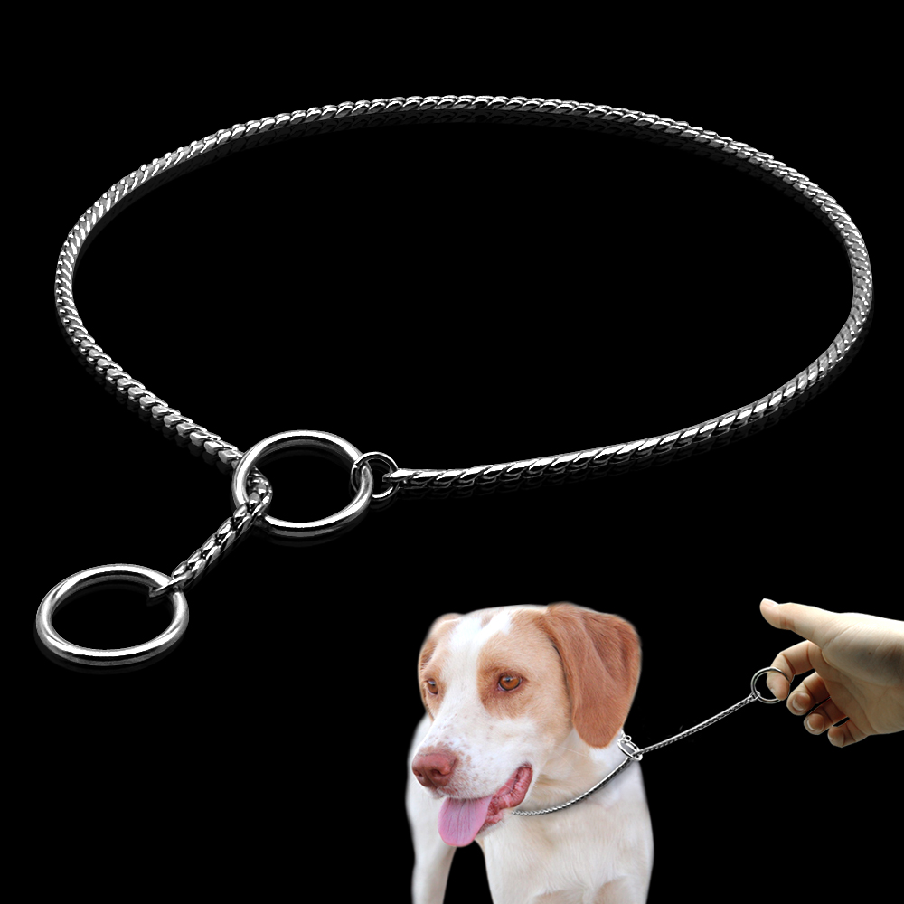 Dog Training Collars Snake P Slip Choke Collar Metallkedja För Hundar Storlek XS S M Large XL Dogs
