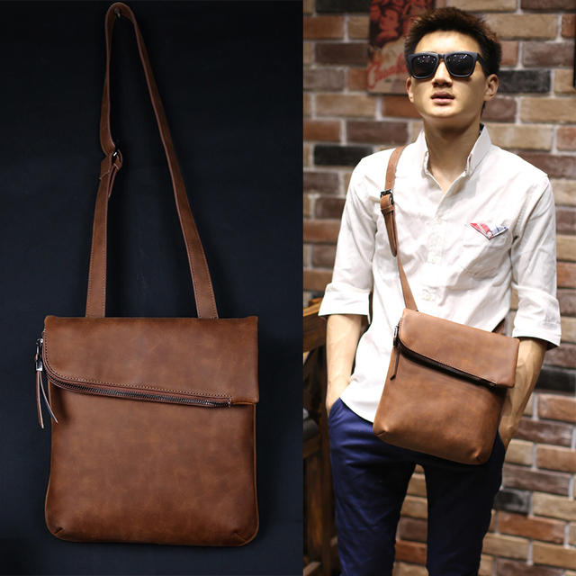 New Fashion Business Men Crazy Horse Pu Leather Bag Leisure Messenger Bags Vintage Brown S