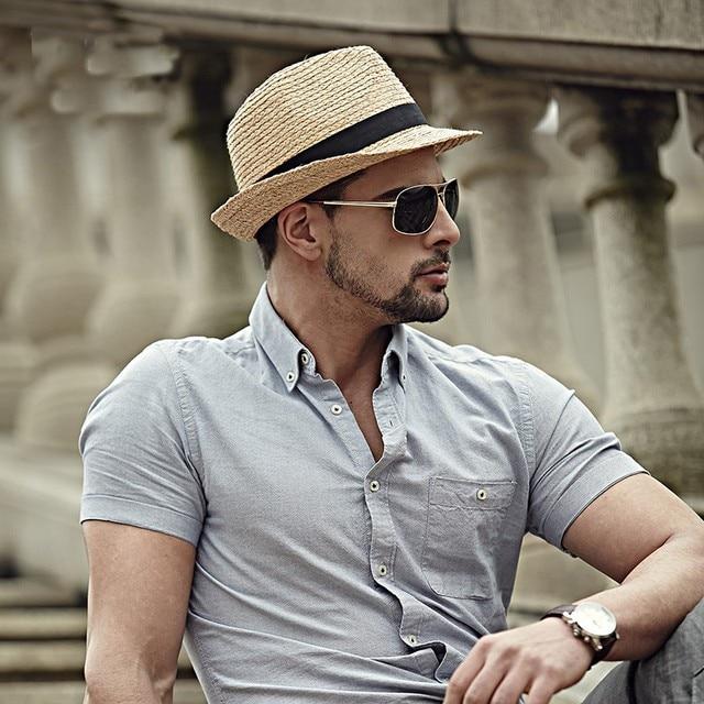 62a1161515c 2018 Fashion Summer Straw Men s Sun Hats Fedora Trilby Gangster Cap Summer  Beach Cap Panama Hat