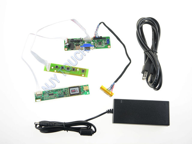 Free shipping V.M70A VGA LCD Controller Board DIY Driver LVDS Inverter+12V 4A Power Adapter