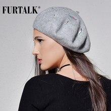FURTALK otoño invierno de las mujeres 100% de la boina de lana con  decoración del bordado caliente del invierno sombreros para l. 54fb2059b6f