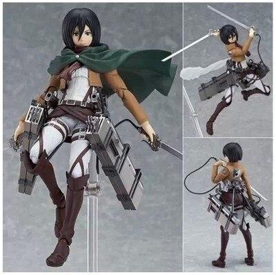 Anime Attack on Titan 15cm Eren Mikasa Ackerman Levi/Rivaille Figma PVC Action Figure Model Toy
