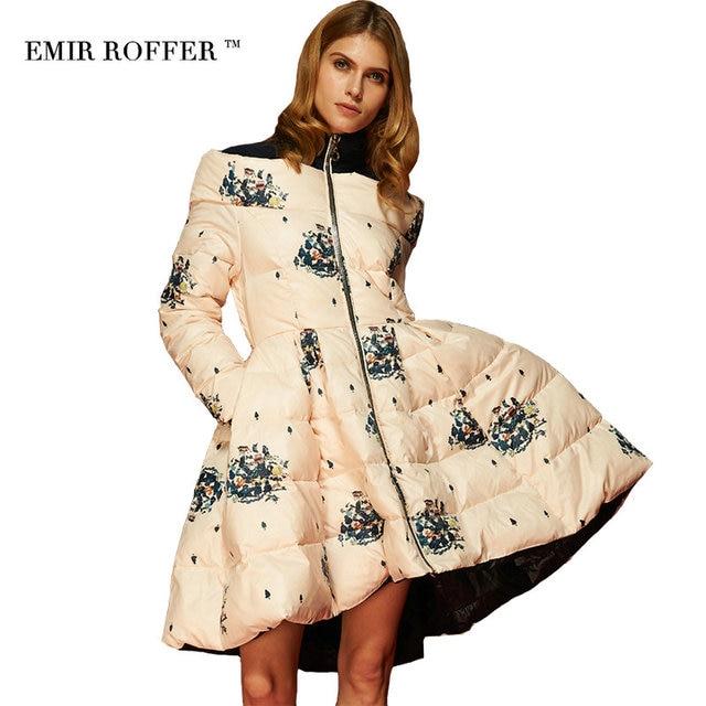 EMIR ROFFER 2016 High Quality Floral Print Women's Down Jacket Parka Princess Skirt Off Shoulder Female Winter Coats Clothes