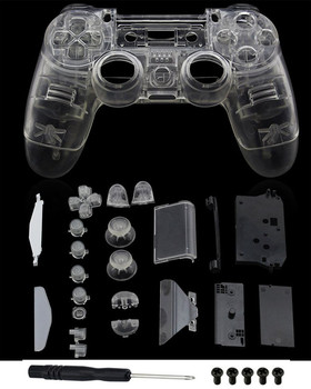 цена на PS4 Full Housing V1 Controller Shell Case Cover Mod Kit buttons For Playstation 4 Dualshock 4 PS 4 Replacement Transparent Clear