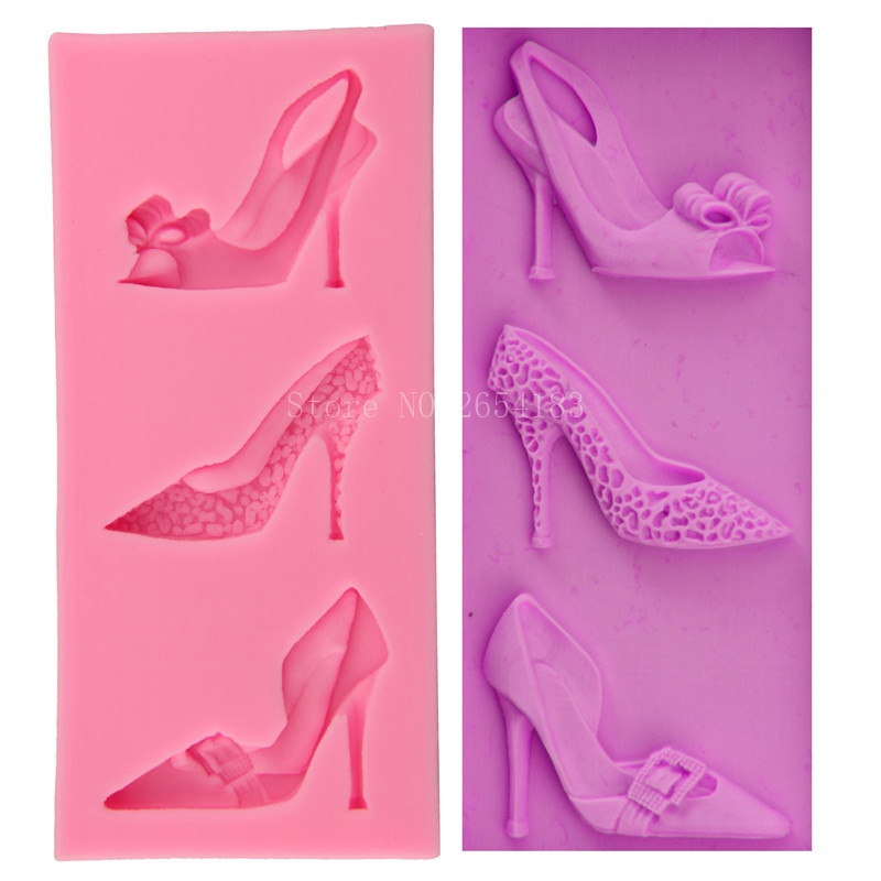 3 kind Girl High-heeled shoe Lady Silicone Fondant Soap 3D Cake Mold Cupcake Jelly Candy Chocolate Decoration Baking Tool FQ3060
