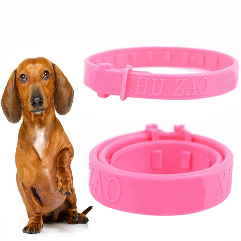 2019 New Pet Flea Prevention Collars Hypoallergenic Tick Collar for Dogs and Cats Adjustable and Light Red image