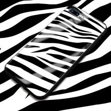 Europe American high quality  toughened glass moblie phone case women ladies elegant black white zebra print back glass shell