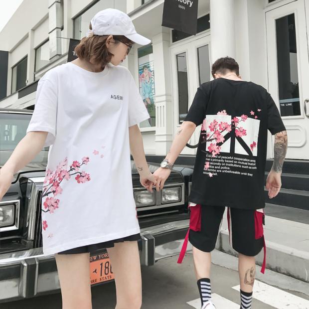 Pêchers Feu Robes Super shirt Ins Guochao D'été Mâle Fleurs Courtes Couple Étudiantes Manches T Pour À Et De Nouveau qOOB6CxXw