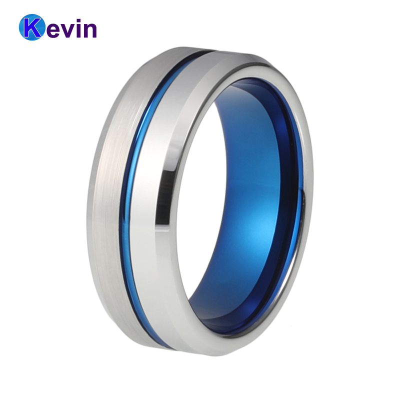 все цены на Mens Tungsten Wedding Band Blue Wedding Ring With Half Brush and Half Polished finish