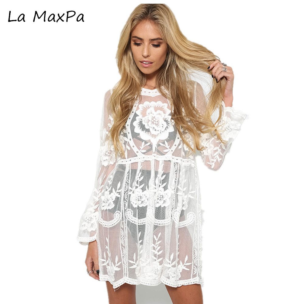 La MaxPa 2017 Embroidered Sheer Swimsuit Cover Up See-through Lace Cover Up Women De Plage Beach Cardigan Bathing Suit Cover Up