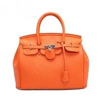 Brand Classic Platinum Bag Candy Color Women Handbag Litchi PU Leather Padlock Handbag Women Shoulder Bag