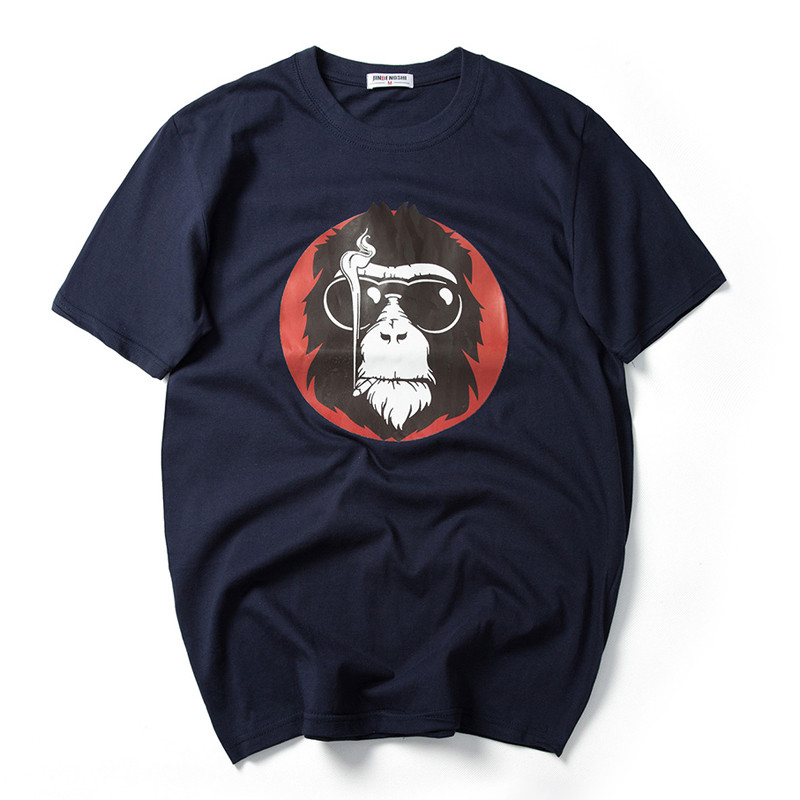 2017 Fashion Monkey with Sunglass Printed Men T-shirt Short Sleeve Funny T Shirts for Man Hipster O-neck Cool Top Tshirt 7XL 5