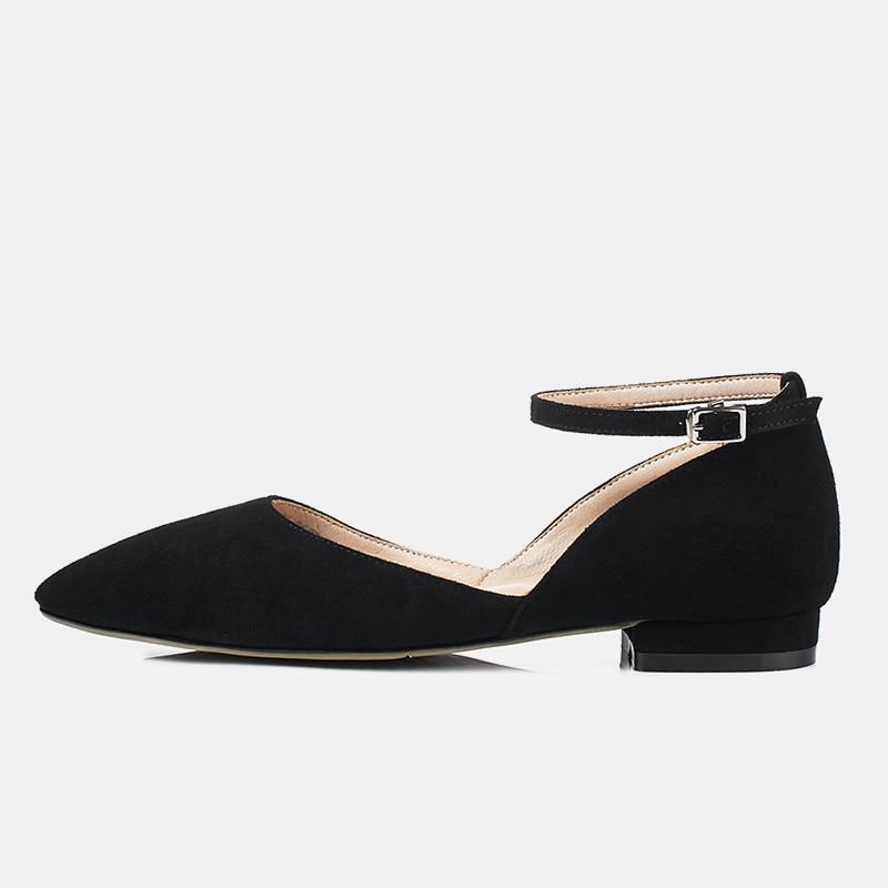 Mujeres Gamuza Moda Tacón Tobillo Black Zapatos Las khaki Bombas Oveja Verano grey Cuero Orsay Bajo 2019 De Negro Piel Correa pink Ocio Real Superficial Wzwq7nY5