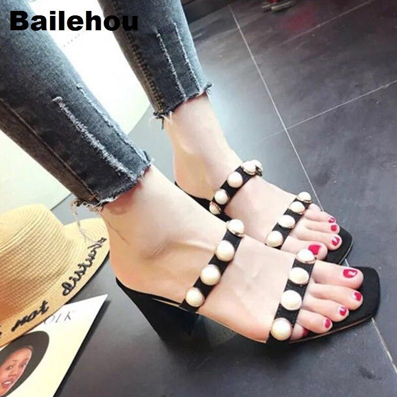 Bailehou Новый Для женщин тапочки слипоны слайды жемчуг среднем Сандалии на каблуке Женская обувь с открытым носком Повседневное шлепанцы на п...
