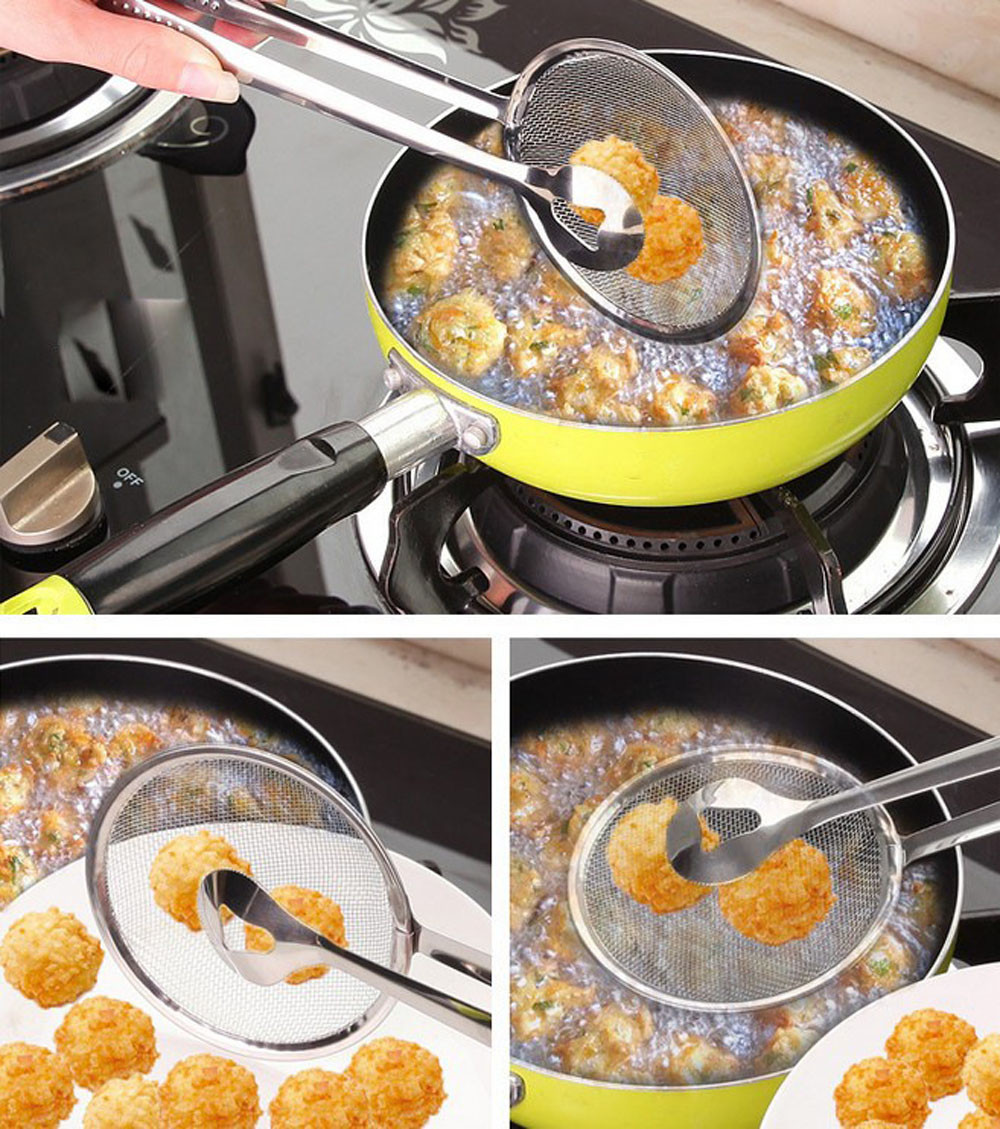New Multifunctional Filter Spoon With Clip Food Kitchen Oil-Frying BBQ Filter FR