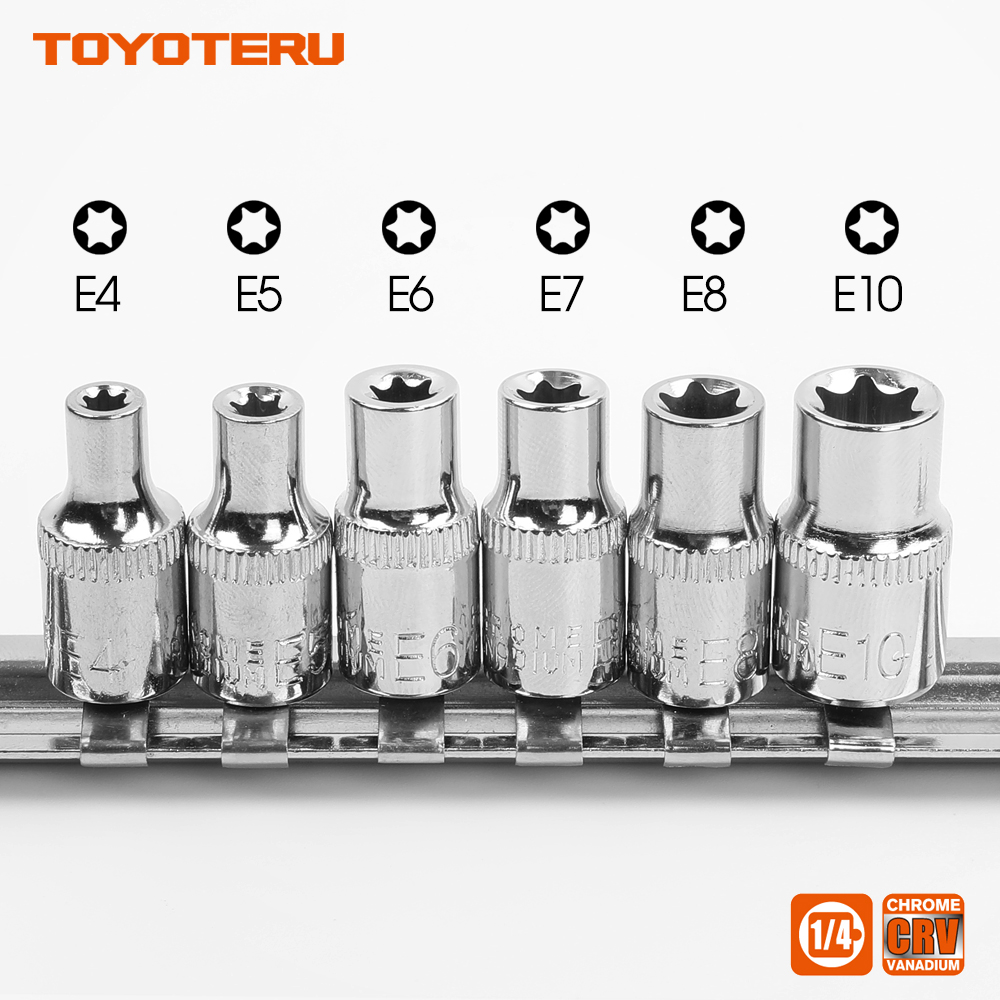 New 1/4 Inch(6.3mm) Torx Star Bit Female E Socket Set E4,E5, E6,E7, E8, E10 in Metal Socket Rail mainpoint 1 4 1 2 3 8 e socket sockets set cr v torx star bit combination drive socket nuts set for auto car repair hand tool