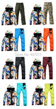 2017 new arrival mens ski suit skiing snowboarding suit for men male ink painting ski jacket +colourful ski pants skating suit