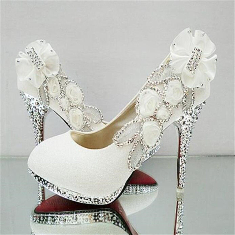 2019 Beautiful Glitter Wedding Bridal Party Evening Crystal High Heels Women Shoes Sexy Woman Pumps Fashion Bridal Shoes 9 Color
