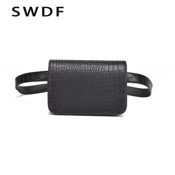 SWDF Saco Da Cintura Das Mulheres Do Vintage PU Correia de Couro de Jacaré Carteiras Cinto Saco de Viagem Pacote de Cintura Fanny Sacos Senhoras Caber 5.5 polegadas telefone