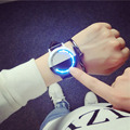 Los Hombres y las mujeres de moda negro blanco Pantalla Táctil LED Binary Reloj de Cuero Genuino Reloj Para El Amante Relogio masculino relojes
