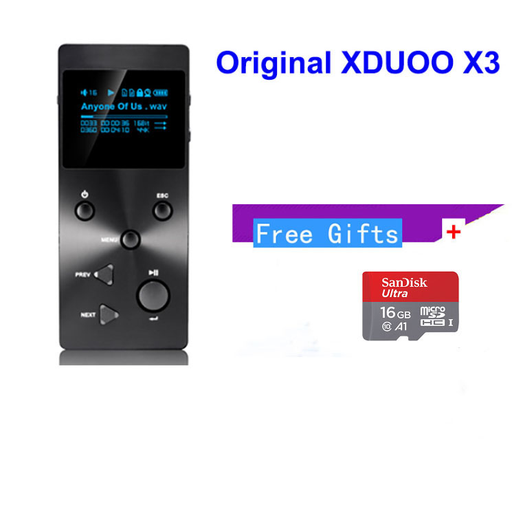 Xduoo X3 MP3 HIFI Music Player with HD OLED Screen Support APE/FLAC/ALAC/WAV/WMA/OGG/MP3 With Free 16GB TF card (have coupon) xduoo x2 professional mp3 hifi music player with oled screen support mp3 wma ape flac wav format authorised seller