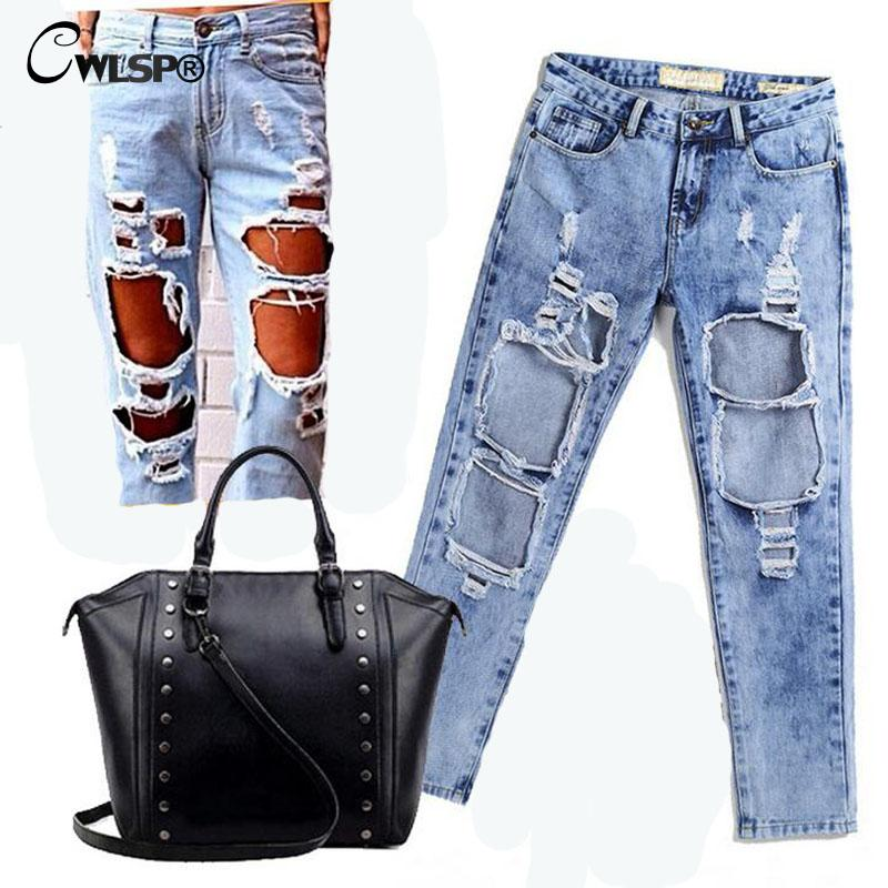 CWLSP Autumn Ripped Jeans Female Casual Washed Holes Boyfriend Jeans for Women Regular Long Torn Jeans Wild Denim Pants  QL1783 setwigg womens ripped thick cotton denim jeans blue washed holes boyfriend style female casual jeans pants sg25