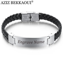 AZIZ BEKKAOUI Width Braided Leather Men Bracelets Engrave Name 316L Stainless Steel Cuff Bracelets Bangles Trendy Male Jewelry(China)