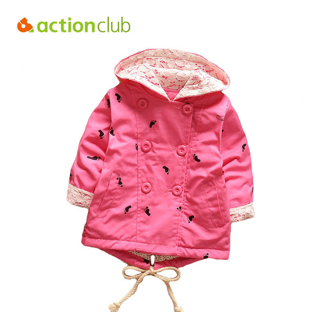 Actionclub Girls Trench Coat Spring Autumn Fashion Baby Girls Jackets Hooded Outerwear Cartoon Pattern Toddler Girls Clothing