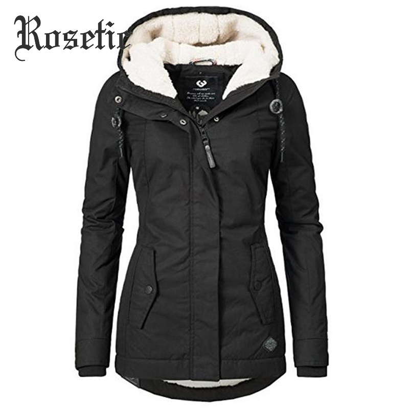 Winter Coat Outerwear Hooded Drawstring Zipper Elastic-Waist Autumn Fashion Cotton Women