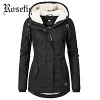 Parkas Women Winter Coat Cotton Outerwear 2019 Fashion Elastic Waist Zipper Pocket Hooded Drawstring Overcoats Autumn Clothes