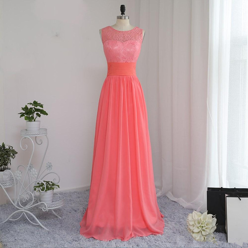 Holievery Coral Chiffon A Line   Bridesmaid     Dress   with Lace Embroidery Long Wedding Guest Gowns vestido dama de honor