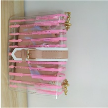 2020 Striped Clear Transparent PVC Women Messenger Crossbody Bag Chains Candy Color Jelly Summer Beach Bag 2Pcs Women Handbag