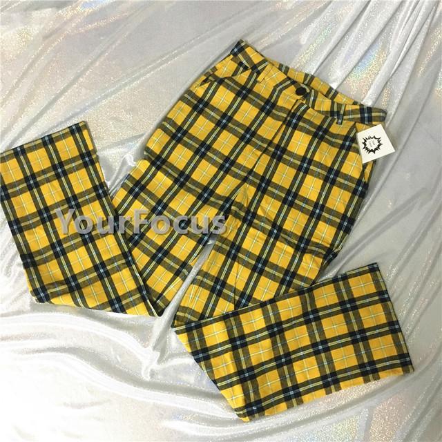 retro vintage old school unif black yellow plaid checkerboard flare pants women ankle-length pants pantalon femme