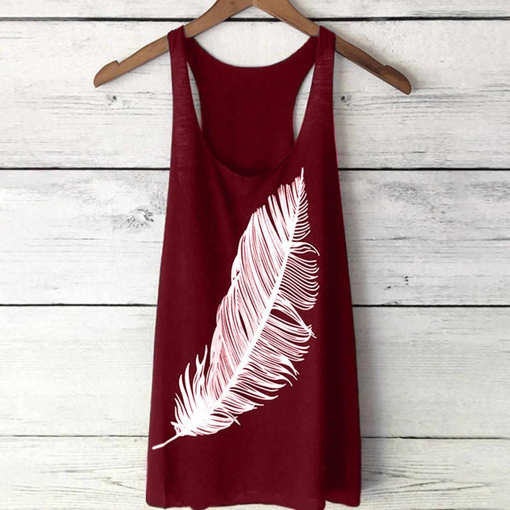 מכירה לוהטת חולצה נשים קיץ נוצת הדפסת ארוך חם ילדה אפוד אופנה גבירותיי למעלה תחתונית femme #20
