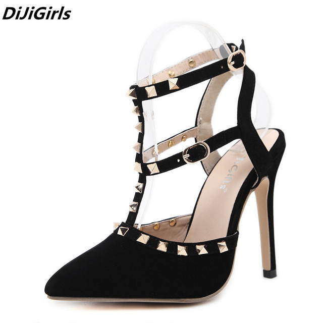 d8eed41dbbff Summer High Heels Sandals Sexy Womens Sandles Pointed Toe Stripper Shoes  Party Pumps Ladies Sandals Punk Rivet Gladiator Sandals