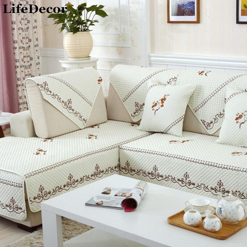 Housse de canapé ensemble blanc coupe housse canapés moderne magique canapé couvre coin serviette tissu double serviette canapé coussin
