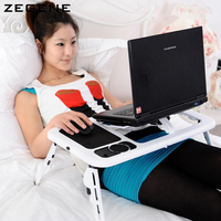 New Portable Adjustable PC Laptop Desk Notebook Table With Built in Cooling Fan Folding Laptop Cooler Stand For Bed Sofa Video
