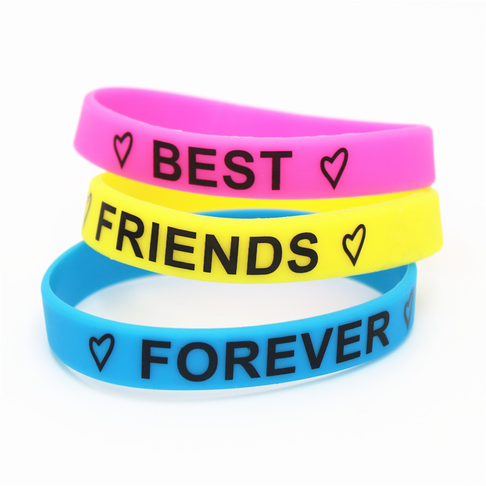 4506126b33cb4 US $1.77 11% OFF|Hot Sale 1PC Fashion Motivational Best Friends Forever  Silicone Wristband Friendship Silicone Bracelet&Bangles Gifts SH159-in ...