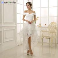 Robe De Mariage 2017 Elegant Vintage Lace Beach High Low Wedding Dresses Short In Front Long