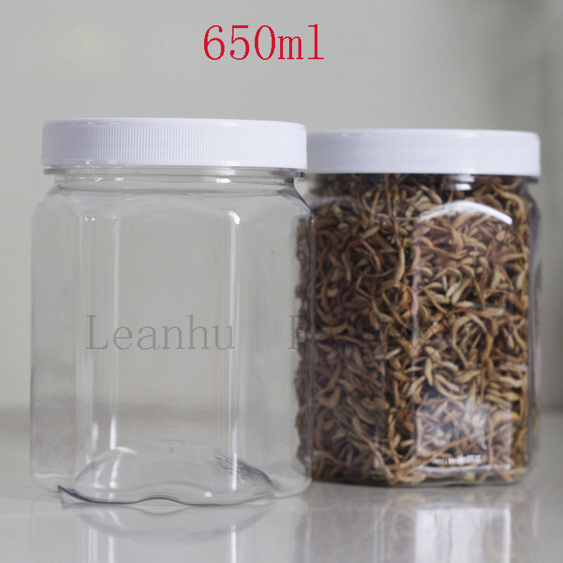 Kitchen Food Sealing Can,650ML Cereals, Nuts, Candy Storage Containers,PET Empty Cosmetic Containers,Clear Plastic Packing Cans
