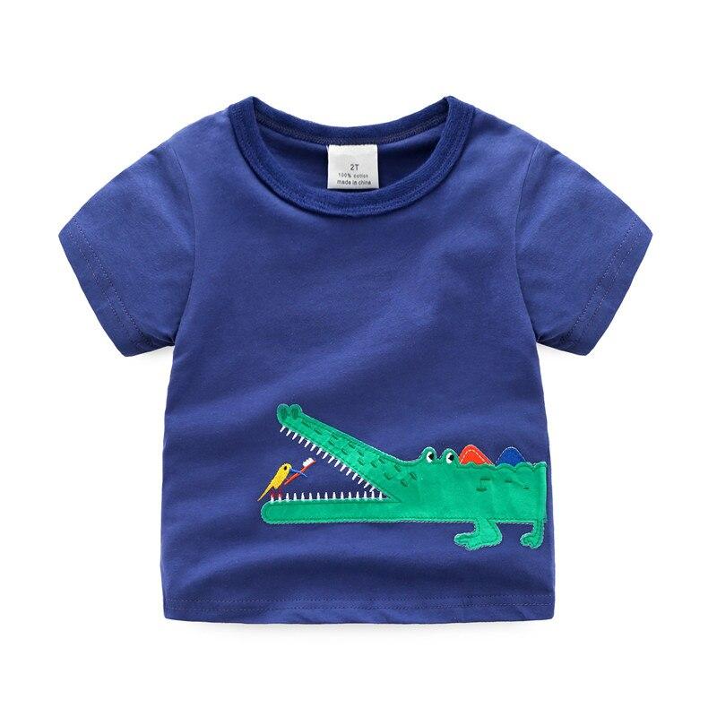 18 m-6 T diverse dimensioni A Strisce applique promozione T-shirt per ragazzi animale caldo vestiti dei bambini Jumping metri estate ragazzi Tees