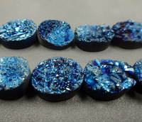 Fashion Pendant ,Blue Titanium Druzy Stone Quartz Oval Beads Drusy Necklace Slab Bead Jewelry 10x14mm