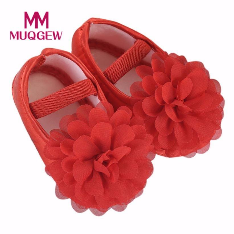 MUQGEW Toddler Kid Shoes Baby Girl Chiffon Flower Elastic Band Newborn Walking Shoes