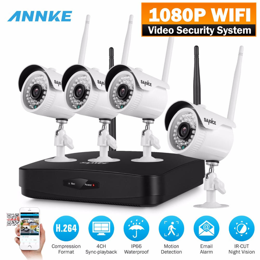 SANNCE Full HD 1080P 4CH Wireless NVR CCTV Security System 2.0MP IP Camera 1080P Wifi Network outdoor Surveillance kit sannce 1920 1080p hd wireless pan