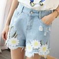 2016 Korean version was lanky waist casual denim shorts female summer wild loose thin section hole printing